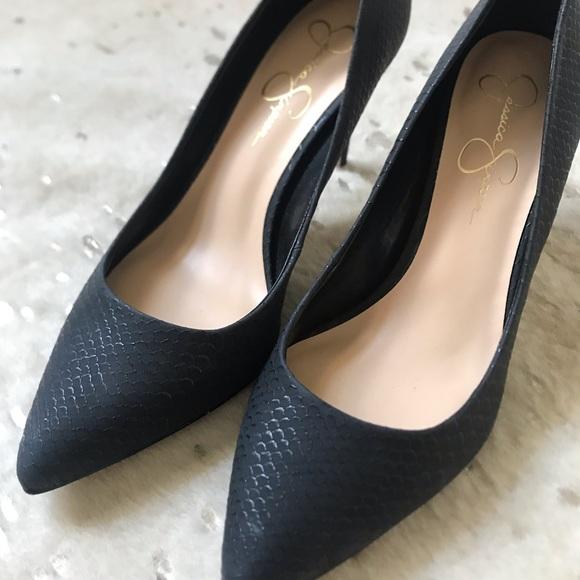 Jessica Simpson Shoes - Jessica Simpson Black Snakeskin Heels - Size 9